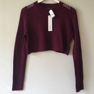 LF Stores Burgundy Millau Crop Sweater Top